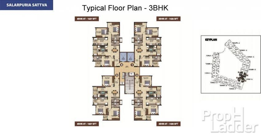Typical Floor plan-3BHK